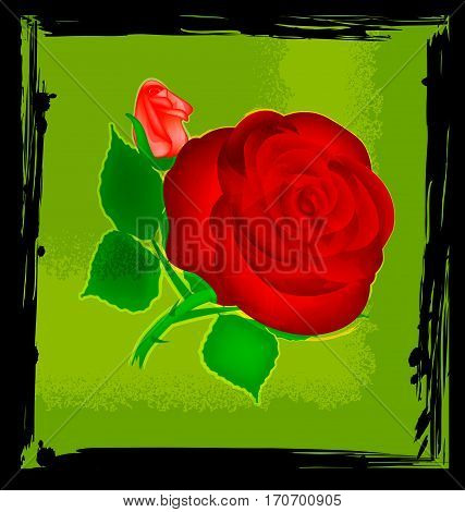 black background with green abstract and red-colored fantasy flower rose