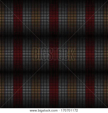 Dotted Line Geometric Seamless Pattern. Repeating Dotted Lines. Dots of the Different Size. Red Black Yellow and White. Vector Backdrop for Your Design. Texture Pattern Swatches Included in File.