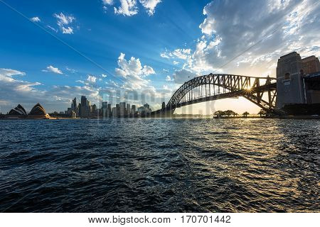 View of  Sydney Opera House And Harbour Bridge Sydney Australia at sunset.FEB 12,2017  Sydney Opera House is modern building, well known worldwide.