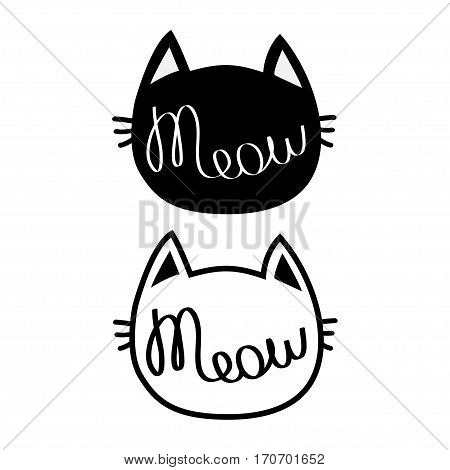 Black cat head silhouette contour set. Meow lettering text. Cute cartoon character . Kawaii animal. Baby pet collection. Sign Symbol. Flat design style. White background. Isolated. Vector illustration