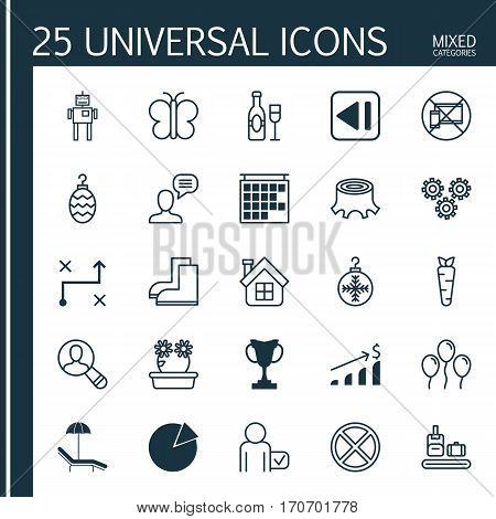 Set Of 25 Universal Editable Icons. Can Be Used For Web, Mobile And App Design. Includes Elements Such As Christmas Toy, Spectator, Floweret And More.