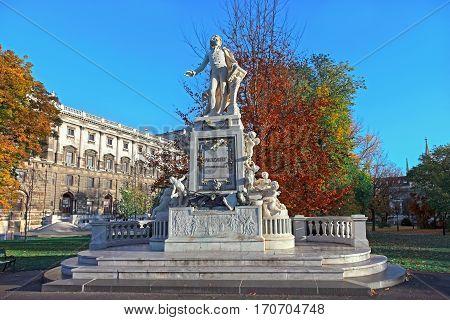 Mozart Statue in front of the Museum of Ethnology in park Burggarten. Vienna Austria.