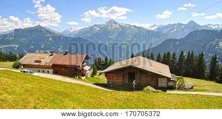 Alpine village among mountains in summer in the Ziller valley (Zillertal). Tyrol, Lower Austria