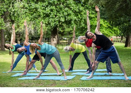 Fitness class stretching in the park