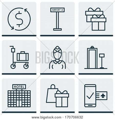Set Of 9 Traveling Icons. Includes Resort Development, Phone Reservation, Money Trasnfer And Other Symbols. Beautiful Design Elements.