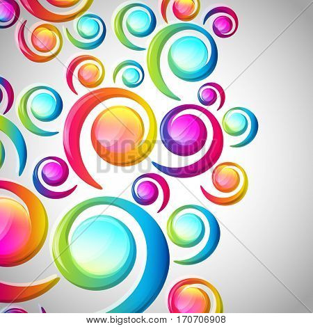 Abstract colorful spiral arc-drop pattern on a light background. Transparent colorful elements and circles design card.