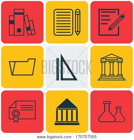 Set Of 9 Education Icons. Includes Measurement, Paper, Document Case And Other Symbols. Beautiful Design Elements.