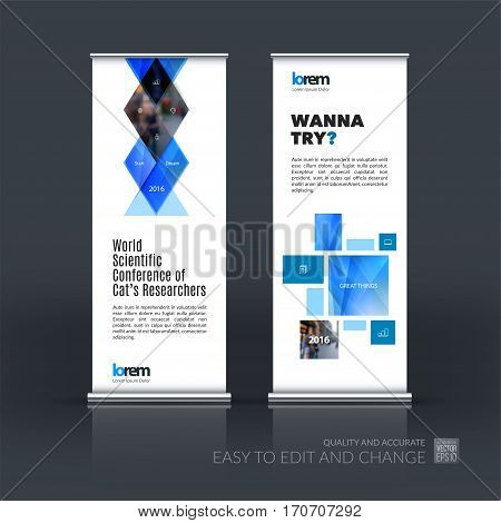 Abstract business vector set of modern roll Up Banner stand design template with blue geometric shapes, triangles, rhombus for exhibition, show, exposition, expo, presentation, parade, events.