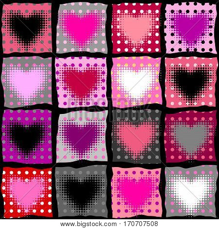 Seamless background pattern. Halftone hearts on polka dot magenta background.