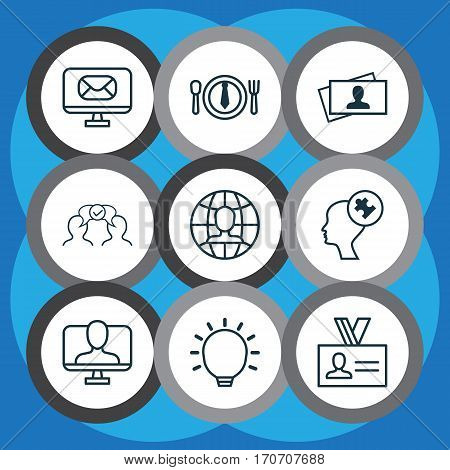 Set Of 9 Business Management Icons. Includes Authentication, Dinner, Human Mind And Other Symbols. Beautiful Design Elements.