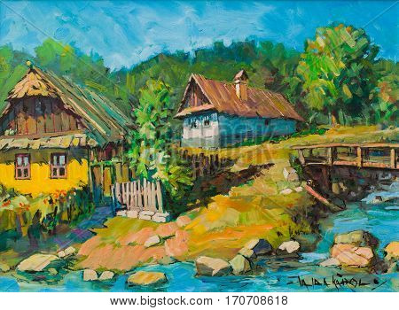 Transylvanian village landscape art painting of peasant houses near them bridge stream and forest.