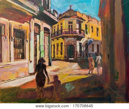 Painting representing sightseeing tourists walking in cuba latin america having urban vacation.