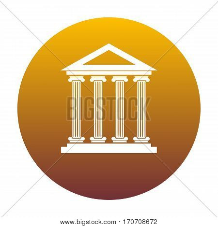 Historical building illustration. White icon in circle with golden gradient as background. Isolated.