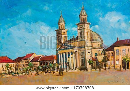 Painting of sightseeing tourists near the church with gothic dome from Satu Mare.
