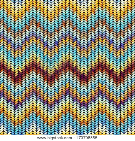 Seamless background pattern. Imitation of Sweater knitting with melange effect. Chevron pattern.
