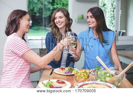 Friends toasting glass of wine while having meal at home