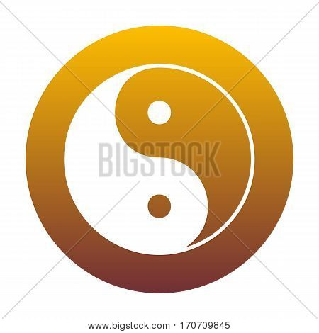 Ying yang symbol of harmony and balance. White icon in circle with golden gradient as background. Isolated.