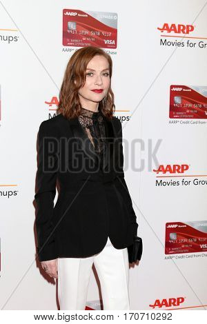 LOS ANGELES - FEB 6:  Isabelle Huppert at the AARP Movies for Grownups Awards at Beverly Wilshire Hotel on February 6, 2017 in Beverly Hills, CA