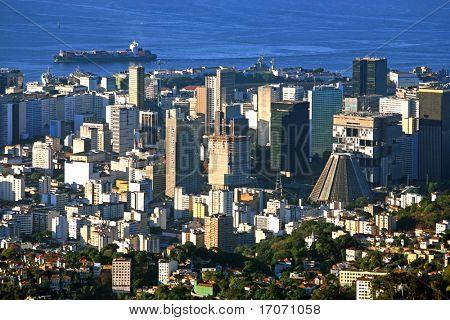 aerial view of the centro the center of the city of rio de janeiro brazil