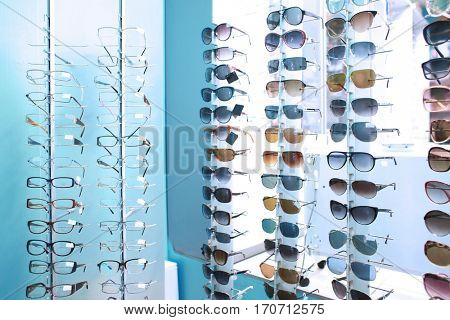 Showcase of different glasses