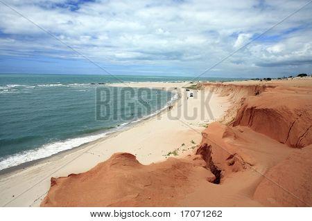 Red beach of Canoa quebrada in ceara state brazil poster