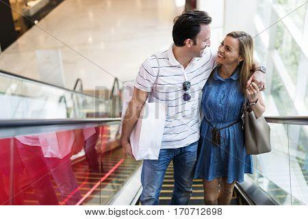 Couple happy hangout shopping mall