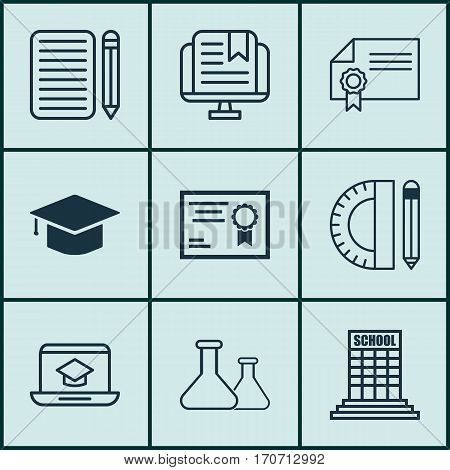Set Of 9 School Icons. Includes Certificate, Chemical, Home Work And Other Symbols. Beautiful Design Elements.