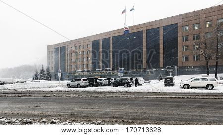 PETROPAVLOVSK-KAMCHATSKY CITY KAMCHATKA RUSSIA - JAN 12 2017: Winter view during blizzard of building of Kamchatka Region Government and Legislative Assembly of Kamchatka Region.