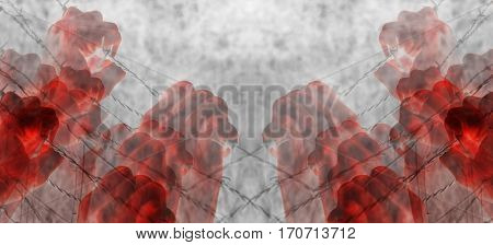 Artistic blood tortured hand grasping desperately barbed wire