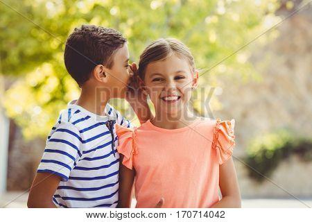Happy boy whispering a secret in girls ear in school