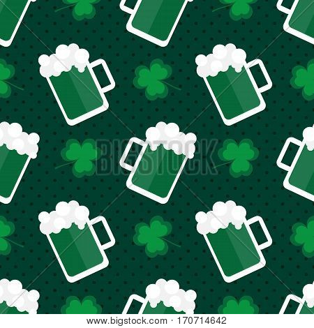 St.Patrick's Day national Ireland holiday seamless pattern background with beer and clover, shamrock leaves.