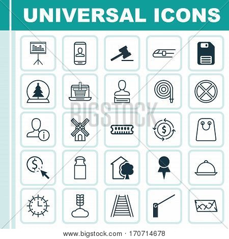 Set Of 25 Universal Editable Icons. Can Be Used For Web, Mobile And App Design. Includes Elements Such As Cereal, Sun Clock, PPC And More.