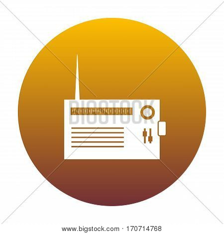Radio sign illustration. White icon in circle with golden gradient as background. Isolated.