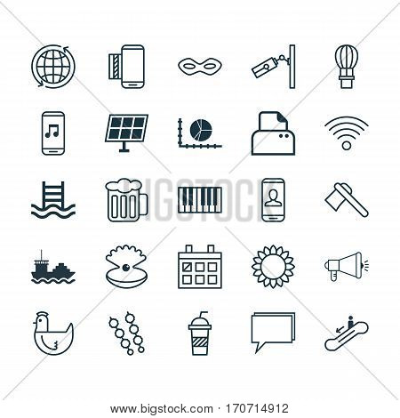 Set Of 25 Universal Editable Icons. Can Be Used For Web, Mobile And App Design. Includes Elements Such As Sun Power, Video Surveillance, Escalator Down And More.