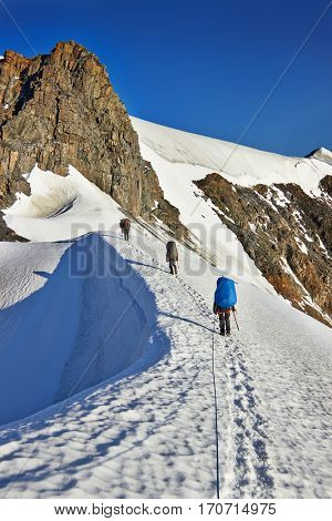 Team of alpinists climbing a mountain with snow field