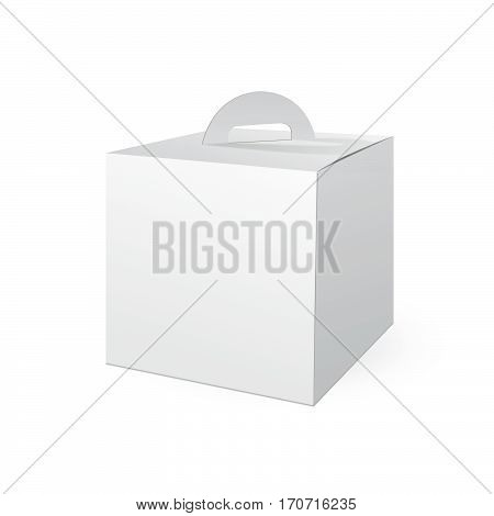 White Cardboard Carry Box Packaging For Food, Gift Or Other Products. Isolated on White Background. Mock Up Template Ready For Your Design. Product Packing Vector illustration.