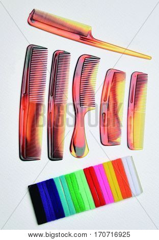 Elements for hairstyle. Different types of combs according to the needs.