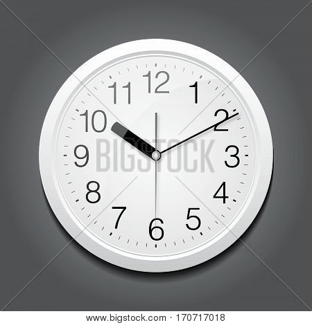 Template for advertising and corporate identity. Classic round clock. Blank mockup for design. Vector white object