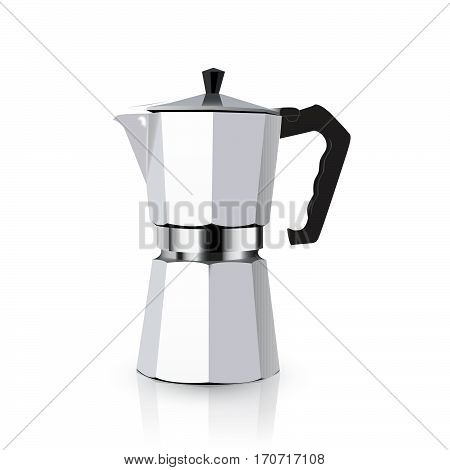 Italian metallic coffee maker isolated on white. Mocha coffee pot for making espresso coffee. Vector geyser coffee maker illustration.