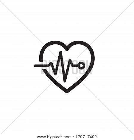 Cardiogram and Medical Services Icon. Flat Design. Isolated Heart with Cardiogram.