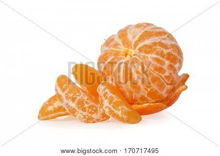 Peeled Clementine isolated on white background
