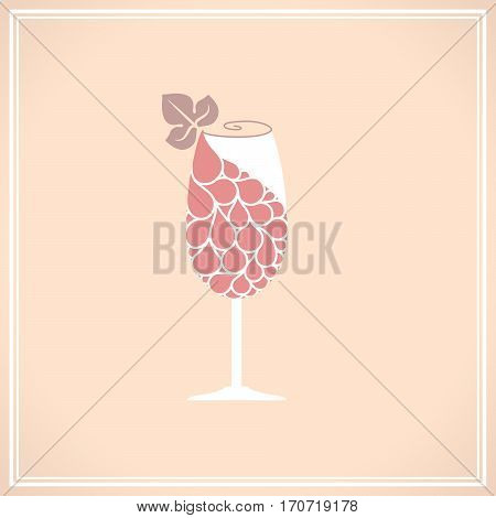 Wine glass with grape. Wine glass logo template. Hand drawn wine concept for winery products, harvest, wine list, wine tasting menu and emblem design.