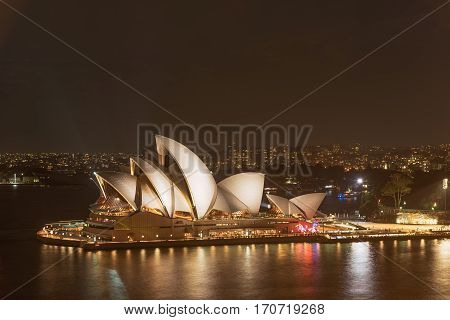 Sydney Opera House Sydney Australia at night . FEB 12,2017 Sydney Opera House is modern building, well known worldwide.
