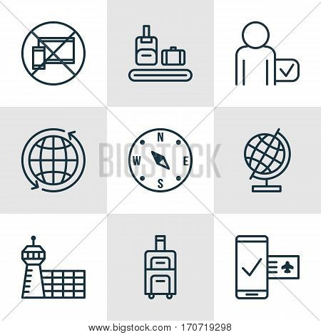 Set Of 9 Travel Icons. Includes Briefcase Scanner, World Sphere, World And Other Symbols. Beautiful Design Elements.