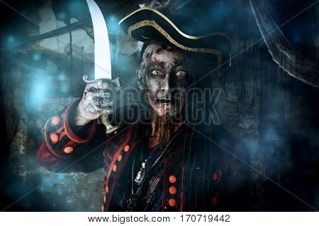 Pirate a drowned man, Hellraiser. Fantasy and adventure. Halloween.