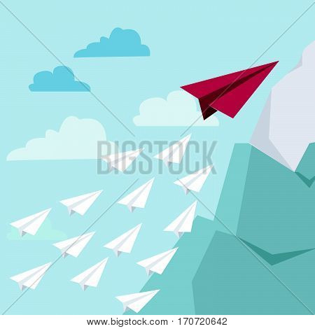 White and red paper planes flying in turquoise blue sky. Leadership success teamwork management boss motivation and business concept. Vector illustration no transparency