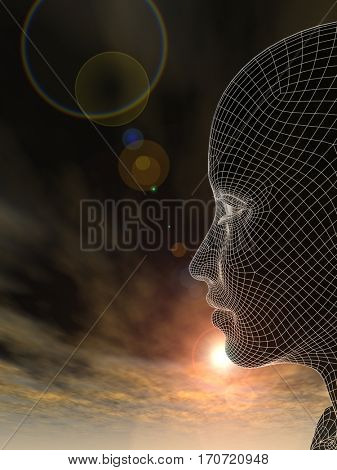 Concept or conceptual 3D illustration abstract wireframe young human female or woman head, sunset sky background for technology, cyborg, digital, virtual, avatar, model, science, fiction, future mesh