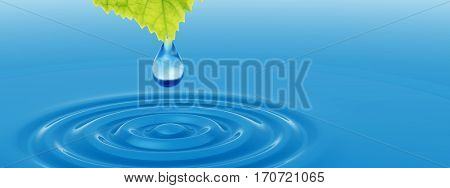 Concept or conceptual clean spring water or dew drop falling from a green fresh leaf on 3D illustration blue clear water making waves metaphor to summer, environment, nature or natural ecology design
