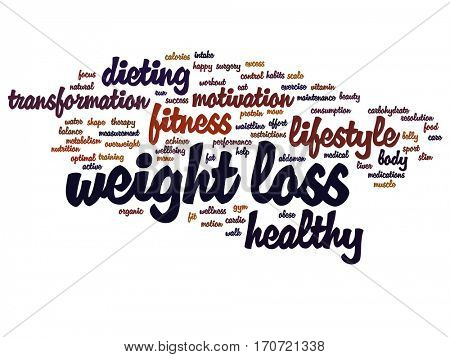 Concept or conceptual weight loss healthy dieting transformation abstract word cloud isolated on background metaphor to fitness motivation, lifestyle, before and after workout slim body beauty