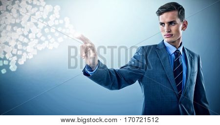Well dressed young businessman gesturing against purple vignette 3d